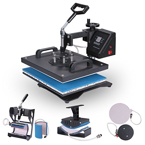 Lartuer Transferpresse Tassenpresse Textilpresse T Shirtpresse Heat Press Machine 6 in 1 Mulitifunktional Sublimation 360-Grad-Drehung (6IN1)