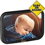 TDP24® Rücksitzspiegel für Babys - (24,5x17,5 cm) Schwarz - bewährte Sicherheit durch großes Sichtfeld - Spiegel Auto Baby + E Book