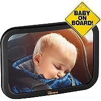 TDP24® Rücksitzspiegel für Babys - (24,5x17,5cm) Schwarz - bewährte Sicherheit durch großes Sichtfeld - Spiegel Auto Baby + E Book