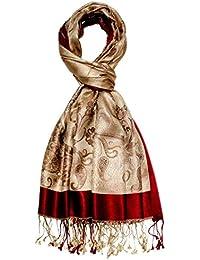 Lorenzo Cana Pashmina pour l`homme - écharpe de 100% soie avec les mesures  de 70 x 190 cm - fait à la main – souple élégant en beige champagne… e5c811e7cc5