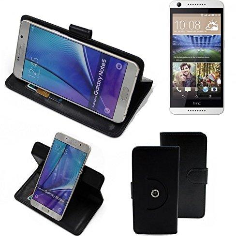 K-S-Trade® Hülle Schutzhülle Case Für -HTC Desire 620G Dual SIM- Handyhülle Flipcase Smartphone Cover Handy Schutz Tasche Bookstyle Walletcase Schwarz (1x)