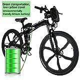 L'AMORE E-Bike Mountainbike 26 Zoll Elektrofahrrad Klappbar,36V 250W Akku mit Li-Ion Zellen, Mechanische Scheibenbremsen, 21 Gang Shimano Gangschaltung LED Beleuchtung