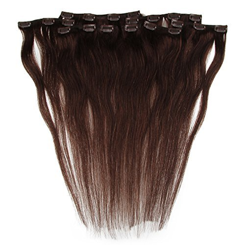 Beauty7 120g Extensions de Cheveux Humains à Clip 100% Remy Hair Haute Qualité #2 Couleur Chocolate Foncé Longueur 60 cm