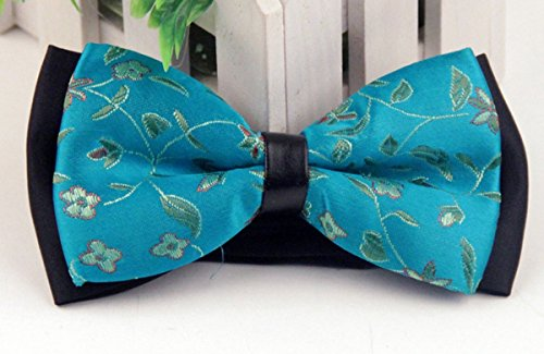 Panegy Nouveau Nœud Papillon Jacquard Cravate lavallière Homme Soirée Businesse Mariage Cérémonie Déco Fête Costume Bow Tie en Coton mélange Vintage pour Complet 6*12cm Multicolore Turquoise