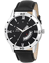 WM Day Date Collection Black Dial Black Leather Strap Watch For Men And Boys DDWM-047