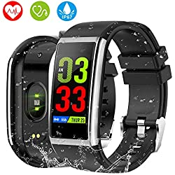 "HOLALEI Montre Connectée, 1,14"" Bluetooth Smartwatch Homme Femme Fitness Tracker d'Activité Étanche IP67 Bracelet Podometre Tension Artérielle Cardiofréquencemètre Intelligente pour Android iOS iPhone"