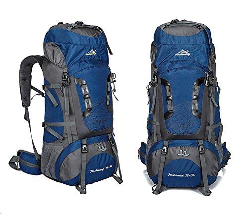 75L + 5L grande impermeabile di Camp Hike zaino da viaggio teengers alpinismo Climb Borse Pack per Uomini Donne , green Blue