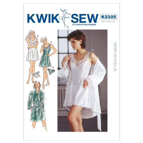 Kwik Sew Patterns K2325 Size Extra-Small/ Small/ Medium/ Large/ Extra-Large Chemise Robe and Panties, Pack of 1, White