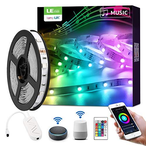 LE LED Strip Alexa, 5M LED Streifen mit Musik, Smart RGB Lichtband [nur 2.4GHz] WiFi LED Leiste Lichterkette für Haus, Küche, Party, TV, LED Band Kompatibel mit Alexa, Google Home