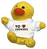 Pollo de peluche (llavero) con Amo Chowder en la camiseta (nombre de pila/apellido/apodo)