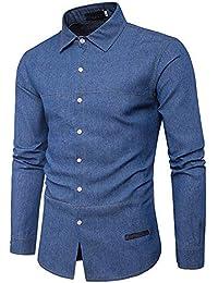 Blusa de Hombre by BaZhaHei, Manga Larga de Hombre algodón de Polo de algodón de Mezclilla Casual de Moda de otoño de los Hombres del…