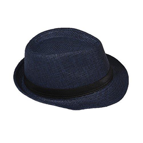 Strohhut Panama Fedora Trilby Gangster Hut Sonnenhut mit Stoffband Farbe:-Dunkelblau (Strohhut) Gr:-54