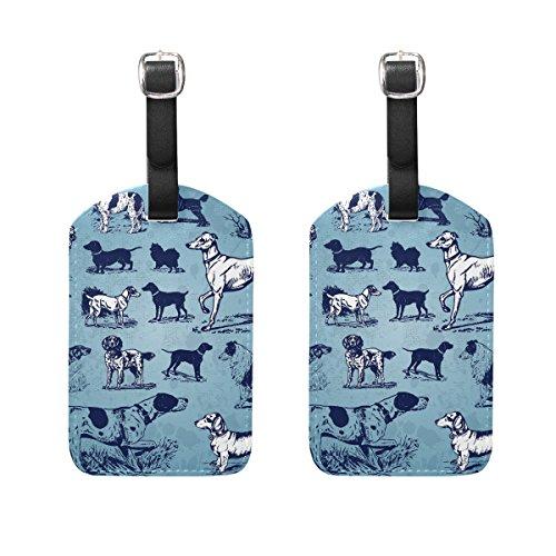 COOSUN Hunde Vintage Set Gepäckanhänger Reise Etiketten Tag Name Kartenhalter für Gepäck Koffer Tasche Rucksäcke, 2 STÜCKE (Leder-gepäck-set 2 Stück)