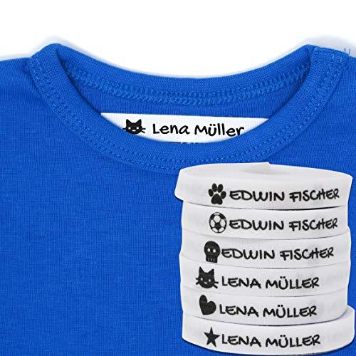Haberdashery Online 100 Personalisierte Bügeletiketten zum Markieren Ihrer Kleidung mit Symbolen. Weiß. Schonend mit der Haut Ihrer Kinder, für Schuluniform für Kinder. (Weiß)