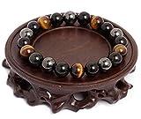 ARMONY Bracelet Triple Protection en Oeil de Tigre Hématite et Obsidienne Noire