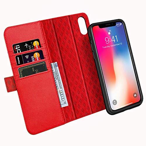 ZOVER kompatibel mit iPhone XS Hülle, iPhone X Hülle Abnehmbar Echt Leder Geldbörse Hülle Unterstützt kabellose Laden Handyhalterung Auto Magnet Lüftung Rot (Hinweis 2 Wallet Case Rot)