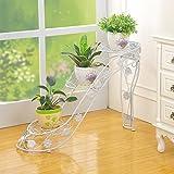 Européen en fer forgé chaussures à talons hauts style fleur stand, trapézoïdale escalier fleur stand, multi-couche support au sol, 73 * 25 * 54cm ( Color : White )...
