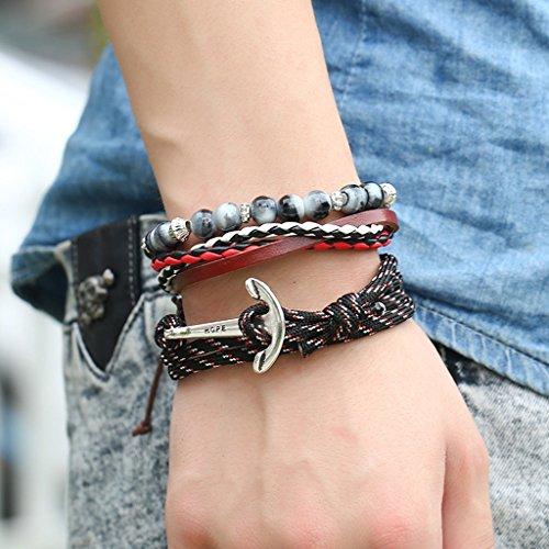 Jiayiqi Hommes Tissé Rétro Cuir Bracelet En Cuir Bracelet Multicouche Réglable NO.19