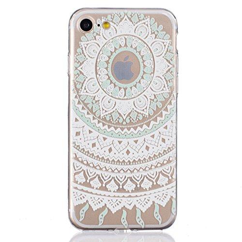 iPhone 7 Hülle,SainCat iPhone 7 Silikon Hülle Tasche Handyhülle Weiß Retro Muster [Elephant] Schutzhülle Transparent TPU Gel Case Bumper Weiche Crystal Kirstall Clear Silikonhülle Durchsichtig Handy G Weiß-Palast-Blumen