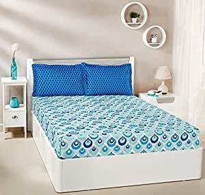 Amazon Brand - Solimo Mystic Drops 144 TC 100% Cotton Double Bedsheet with 2 Pillow Covers, Blue