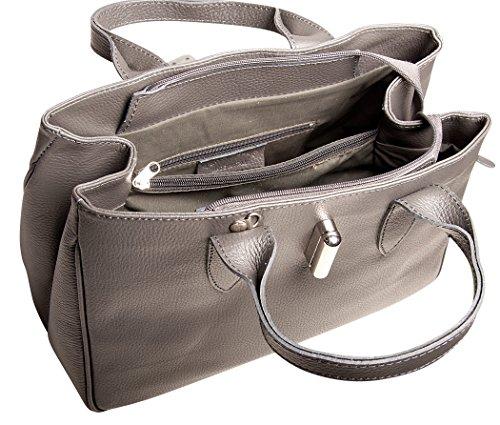 Pelle Italy Damen Handtasche Leder 34x25x13 cm (BxHxT), Farbe:Bordeaux Blue