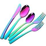 Buyer Star 4 Set de cubiertos Acero inoxidable Utensilios boda vajilla de 20 piezas Cubertería utensilios de cocina cuchara de postre, cuchillo y tenedor