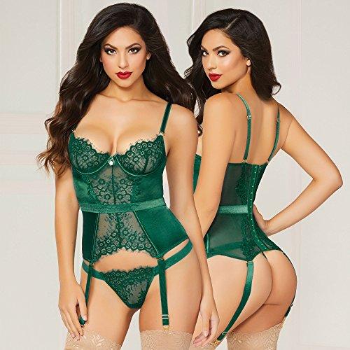 1564f20d1b574 7 til Midnight Emerald Green Lace Bustier Lingerie Set (Green)
