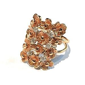 Anello Quaglia in oro rosa 18 kt. con doppio gambo con 12 fiori e 6 brillanti