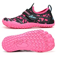 UBFEN Kids Water Shoes Girls Boys Sport Aqua Shoes Quick-Dry Barefoot Shoes for Outdoor Beach Swimming Surfing Diving 1 UK Pink