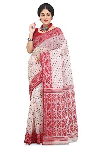 Wooden Tant Women's Cotton Silk Dhakai Jamdani Saree (DJ56_White_Free Size)