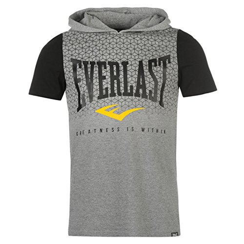 Everlast Herren T Shirt Kapuze Kurzarm Baumwolle Logo Print Freizeit Grau Meliert