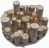 CHICCIE 4er Holz Ast Teelichthalter  25cm - Vintage Tischdeko Kerzenhalter Landhausstil Natur Deko