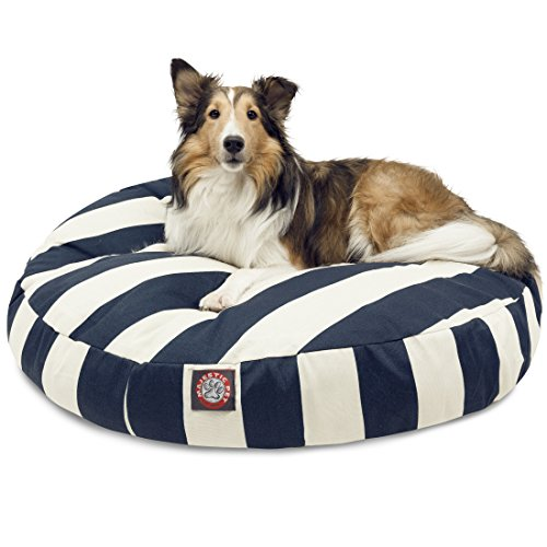 Majestic Pet Navy Blue Vertical Stripe Medium Round Indoor Outdoor Bed Cane con Fodera Rimovibile e Lavabile Copertura by Prodotti