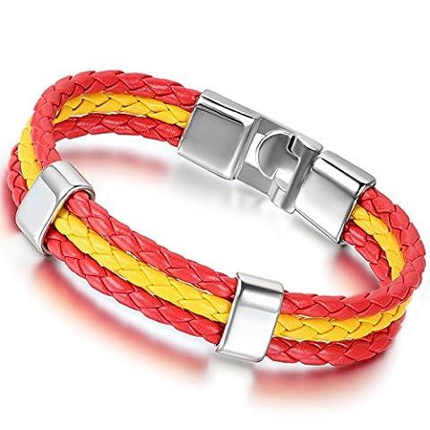 Flongo Alliage Cuir Bracelet Fantaisie Homme Femme Drapeau Embleme National Espagne Espagnol Rouge