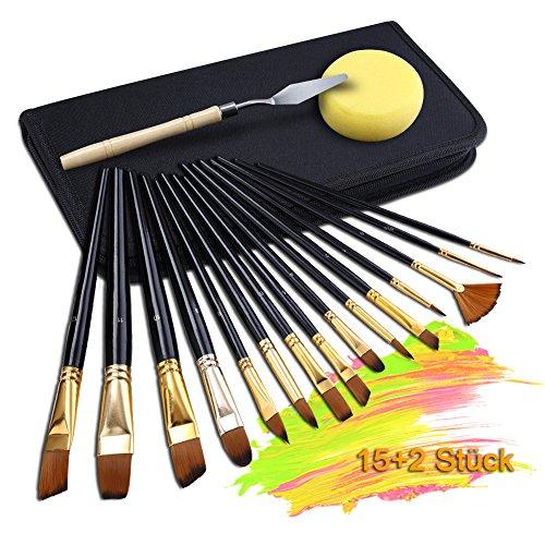 GHB 15 Stück Pinselset Künstlerpinsel Acrylpinsel für Acrylmalerei Aquarellmalerei Ölmalerei Flachpinsel Bürste mit Spachtel & Nylon Tasche Schwarz (Verpackung MEHRWEG)