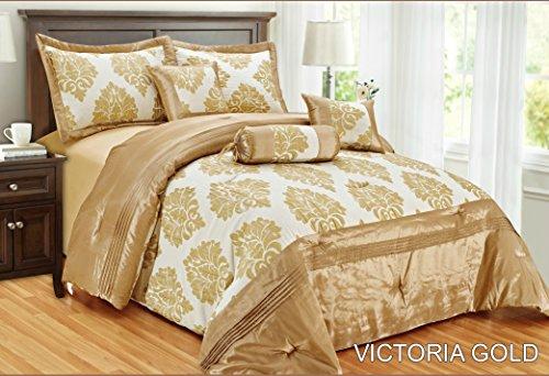 New Victoria Luxus weichem Jacquard 7-teilig Tagesdecke Tröster Quilt Polyester gefüllt Polyester gefüllt Neckroll Kissen Frühstück quadratisch Kissen Farbe Gold Größe King (Gold Frühstück Kissen)