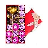 12pz rosa profumato sapone da bagno fiori d' oro con un fiore, set da regalo per anniversario/compleanno/matrimonio/SAN Valentino/festa della mamma by Keyrivs