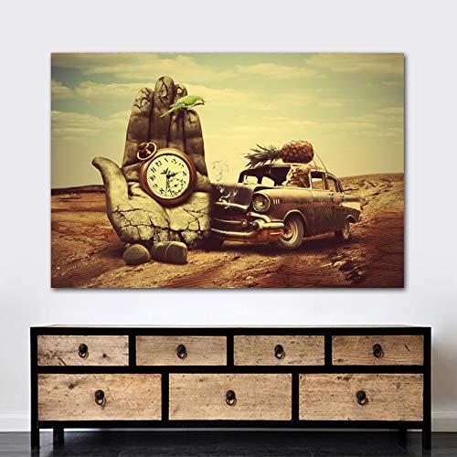 Quadro su tela Decorazione da parete Arte classica Salvador Dali Mano, orologio, auto, ananas, pappagallo Stampe Poster Arte da parete per soggiorno Pittura e calligrafia da con cornice 24x36 cm