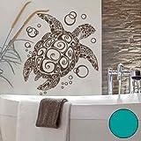 A076 Wandtattoo 'Bubble Turtle' 66cm x 60cm tuerkis (erh. in 40 Farben und 2 Größen)