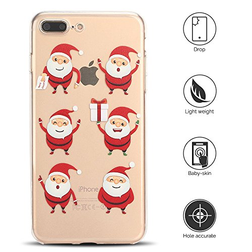 Cover iPhone 7 plus Custodia iPhone 8 plus Silicone Natale Anfire Morbido Flessibile TPU Gel Case Cover per Apple iPhone 8 plus/7 plus (5.5 Pollici) Ultra Sottile Clear Trasparente Copertura Antiurto  6 Babbo Natale