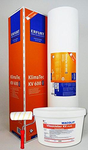 WACOLIT-SET 1 Rolle (15m²) ERFURT KlimaTec Pro KV 600 + 8kg Thermovlieskleber + Kleisterroller, Thermovlies Dämmung für den Innenbereich