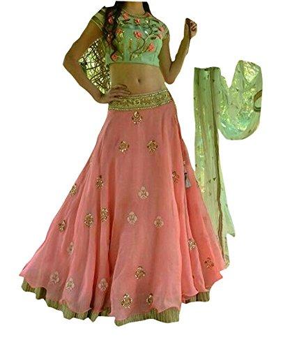 FebForrest Women\'s Pink Georgette Designer Lahenga Choli [SL 30(DS_A306)]