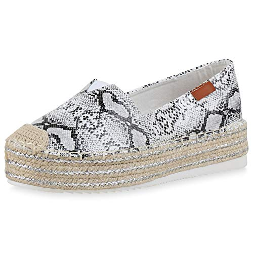 SCARPE VITA Damen Bast Slipper Plateau Espadrilles Slip On Schuhe Wildleder-Optik Plateauschuhe Profilsohle 184138 Schwarz Weiss Snake 37 - Wildleder-espadrilles