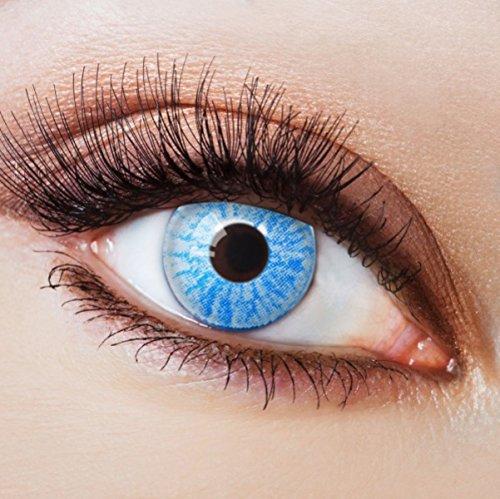 (Farbige Kontaktlinsen Blau Ohne Stärke Blaue Jahreslinsen Weiche Motiv-Linsen Farbig Halloween Karneval Fasching Cosplay Kostüm Light Ice Blue Sky Weiß)