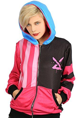 Cosplay Kostüm Kapuzen Pullover Hoodie Jinx Jacke Polyester Sweatshirt LOL Mantel Top Kleidung für Herren Damen (Kostüm Jinx League Legends Of)