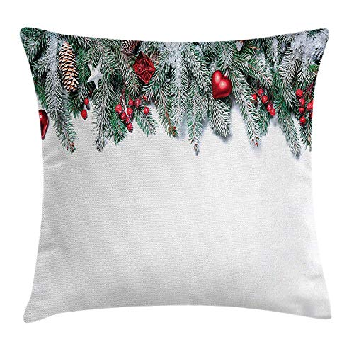 Christmas Throw Pillow Cushion Cover, Snowy Xmas Branch with Vivid Baubles Stars Berries Cones and Mistletoe Yule Image, Decorative Square Accent Pillow Case, 18 X 18 inches, Green Red - Medusa Red Square