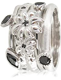 Stack Ring Co, Sterling Silver, Black Hole,Rhodium Plated ,Silver Double Flower,Black Cz 5 Band Freedom And Prima Mix Stack Ring
