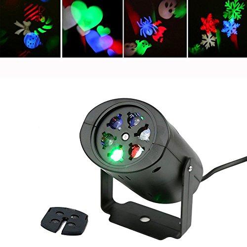 Bloomwin Projektor Lampe Spotbeleuchtung, 4 Lens IP44 Schneeflocken, für Weihnachten Halloween Hochzeit Party