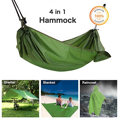 Amaca campeggio amaca, multifunzione 4in 1multifunzione outdoor campeggio amaca–impermeabile pioggia fly tenda tarp–coperta da campeggio–multifunzione impermeabile per picnic, escursionismo, attività all' aperto