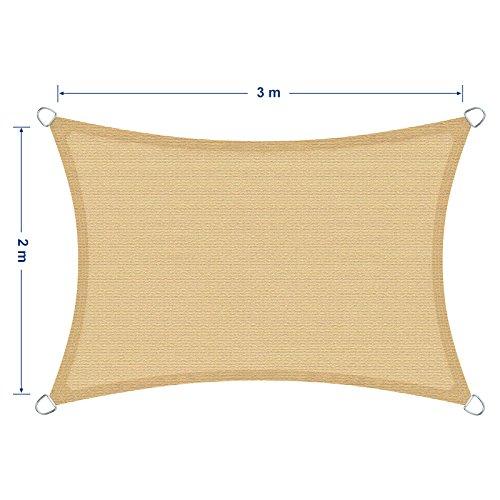 prezzo SONGMICS 2 x 3 m Tenda Parasole Vela Ombreggiante in HDPE Protezione Solare Protezione dai Raggi UV Respirante Permeabile Utilizzabile per Giardino Balcone Terrazza Rettangolo di Diversi Dimensioni Giallo Corde di Fissaggio Incluse GSS23EY
